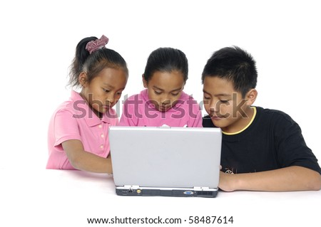 Little group of working on the laptop - stock photo