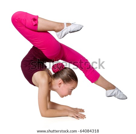little gymnast on a white background.sporting exercise .stretch.flexibility.aerobics - stock photo