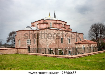 Little Hagia Sophia in Istanbul, Turkey. Formerly it was the Eastern Orthodox Church, later converted into a mosque during the Ottoman Empire. This Byzantine building was a model for the Hagia Sophia - stock photo