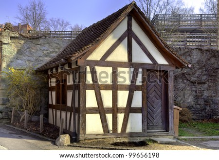 Little half-timber house in the old town of Meersburg at the Lake Constance in South-Germany