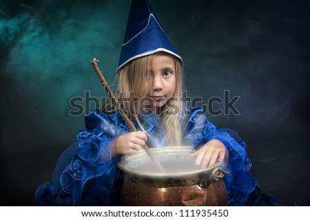 little halloween witches - stock photo
