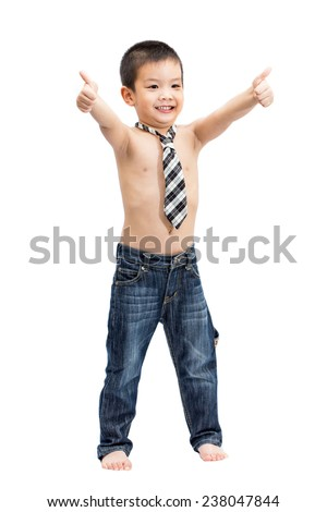Little handsome Asian boy portrait shirtless with necktie showing thumbs up gesture and smiling face isolated on white background - stock photo