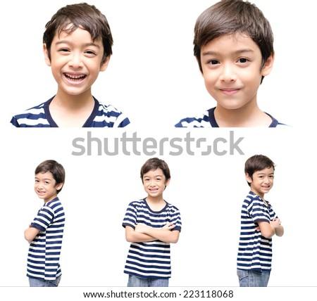 Little handsome boy portrait on white background - stock photo
