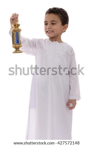 Little Happy Boy Celebrating Ramadan with Lantern Isolated on White Background - stock photo