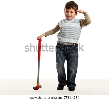 Little happy boy plays mini golf and holding one hand near the head, isolated on white