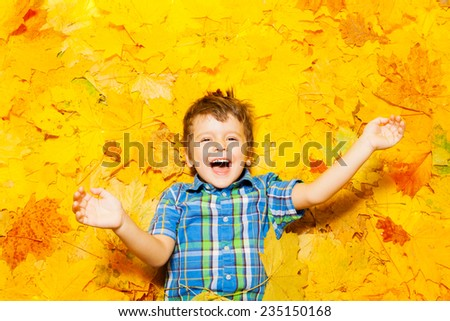 Little happy Caucasian boy laying in leaves  - stock photo