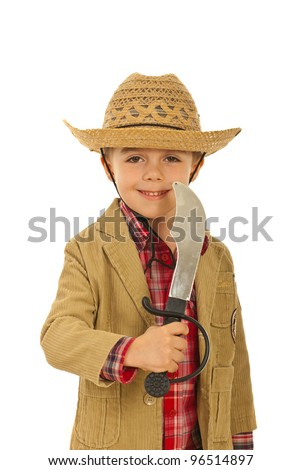 Little happy cowboy holding sword toy isolate don white background