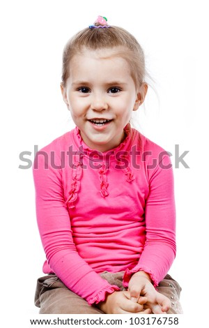 little happy girl laughing and looking into the camera. isolated on white background.