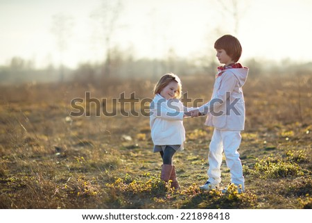 Little happy laughing kids in a field. Happy family. - stock photo