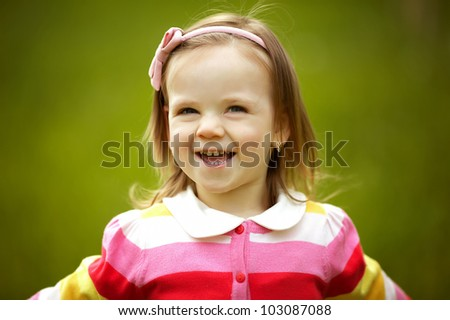 little happy summer girl - stock photo