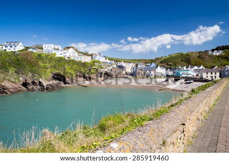Little Haven a  quaint  fishing village in the Pembrokeshire Coast National Park Wales UK - stock photo