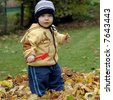 little helper boy is raking autumn leaves - stock photo