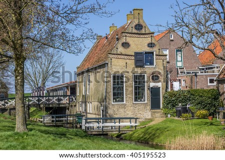 Little historical house in Hindeloopen, The Netherlands