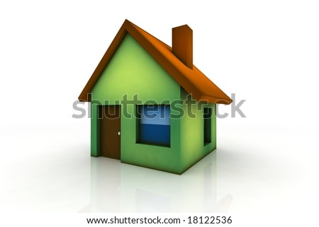little house - 3d render isolated illustration on white - stock photo