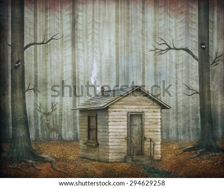 Little House  in a fairytale forest  - stock photo
