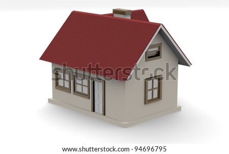 little house on a white background