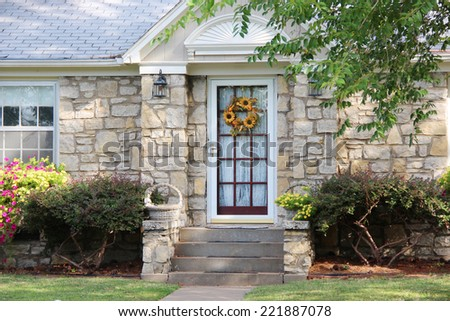 Little house with a nice yard - stock photo