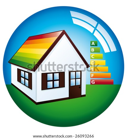 Little house with energetic classification - stock photo
