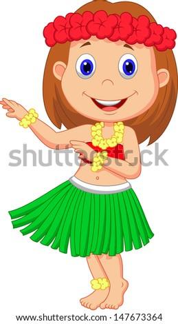 Little Hula Girl - stock photo