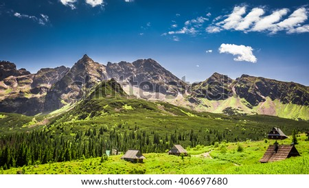 Little huts in the Tatra mountains in Poland - stock photo