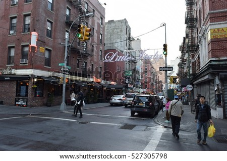 Little Italy New York - October 21 2016 - Street view of Little Italy at Manhattan island