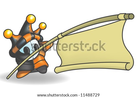 Little Jester or Joker Character holding a sign suspended from a pole. Sign is left empty for your design. - stock photo