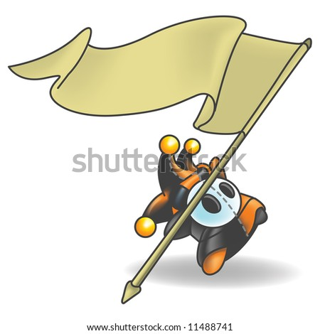 Little Jester or Joker Character that is holding a sign flapping in the wind. - stock photo