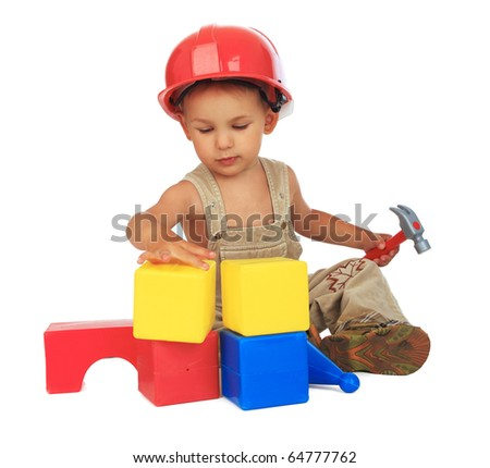 Worker in red protective helmet on white background stock photo