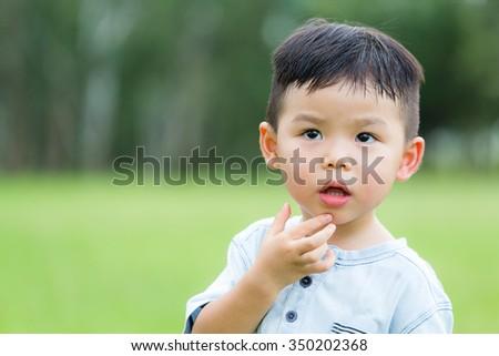 Little kid at outdoor - stock photo