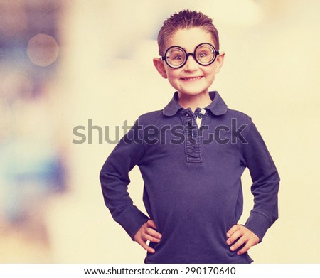 little kid joking as a nerd