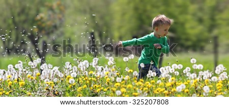 Little kid running in dandelions - stock photo