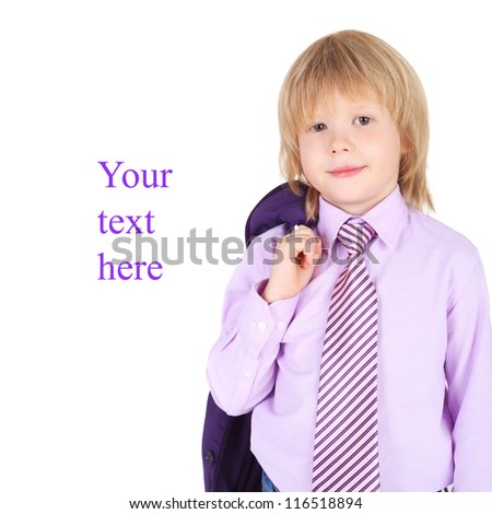 little kid wearing elegant shirt and tie