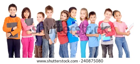 little kids at school isolated in white