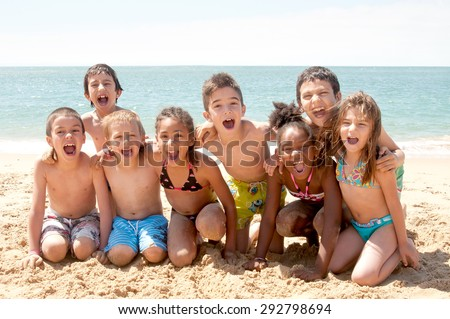 little kids at the beach