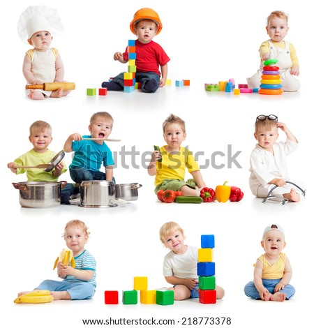 little kids boys 1-2 years old isolated on white - stock photo