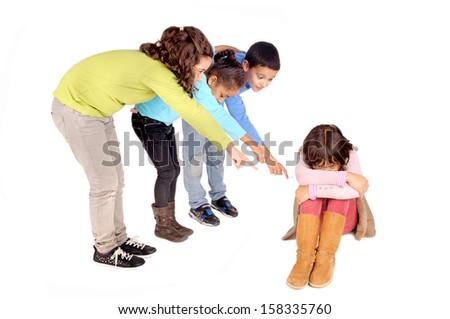 little kids bullying girl isolated in white - stock photo