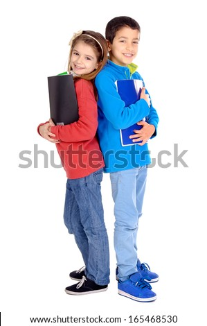 little kids holding school books isolated in white - stock photo