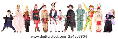 little kids in costumes on halloween having fun together - stock photo