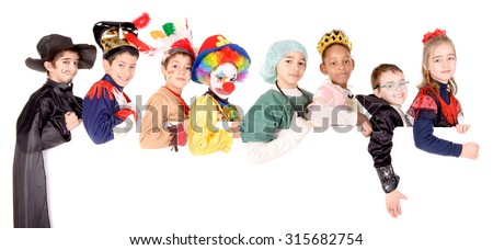 little kids in costumes on halloween isolated in white - stock photo