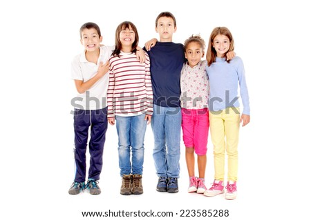 little kids isolated in white