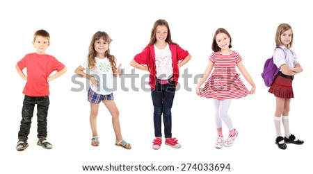 Little kids isolated on white - stock photo