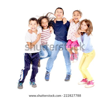 little kids jumping isolated in white - stock photo