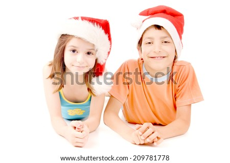 little kids on christmas isolated in white