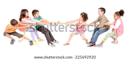little kids playing pulling rope isolated in white