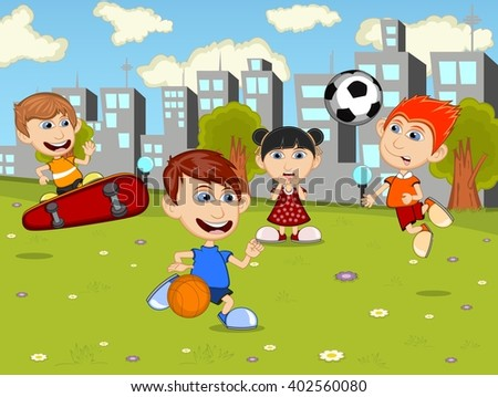 Little kids playing skateboard, soccer, basketball in the city park cartoon image illustration - stock photo