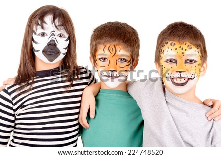little kids with face painted as a tiger isolated in white - stock photo