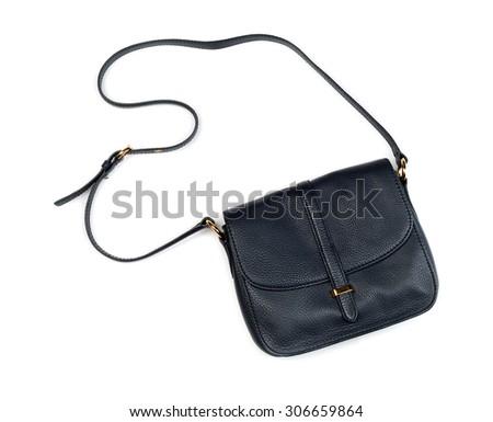 Little leather ladies handbag. Isolate not white. - stock photo