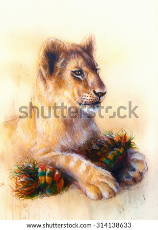 Little lion cub cuddling and playing with toy . animal painting on vintage paper, abstract color background with spots