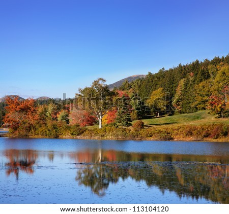 Little Long Pond In The Colors Of Autumn, Mount Desert Island, Acadia National Park, Maine, USA - stock photo