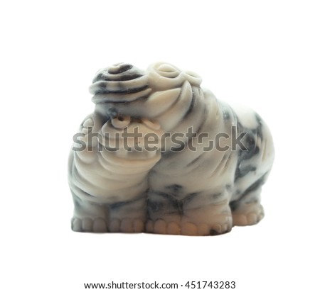 Little love marble Hippo, isolated on a white background.